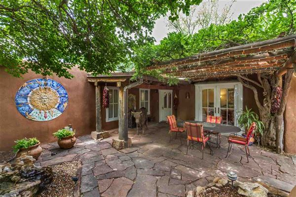 Original santa fe style adobe home new mexico luxury for Adobe style homes for sale