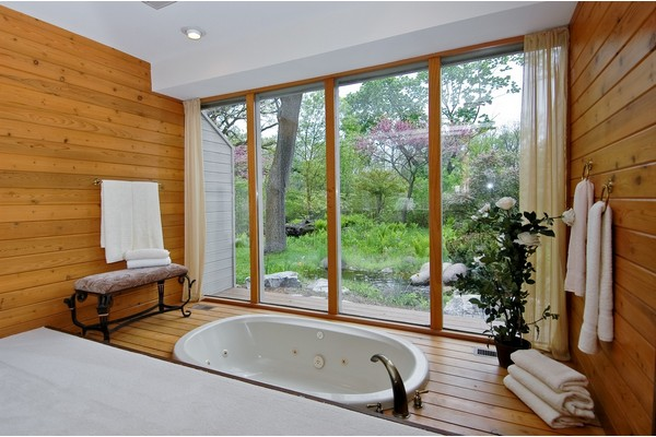 Master Bath with View of Brook