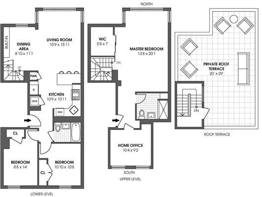 Top floor duplex penthouse new york luxury homes for Luxury duplex floor plans