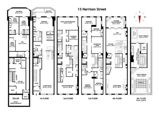 new york townhouse floor plans. Luxury real estate FIVE STORY LOFT STYLE TRIBECA TOWNHOME  New York Homes