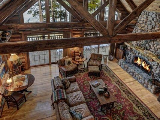 beautiful log home on a quiet bay luxury real estate