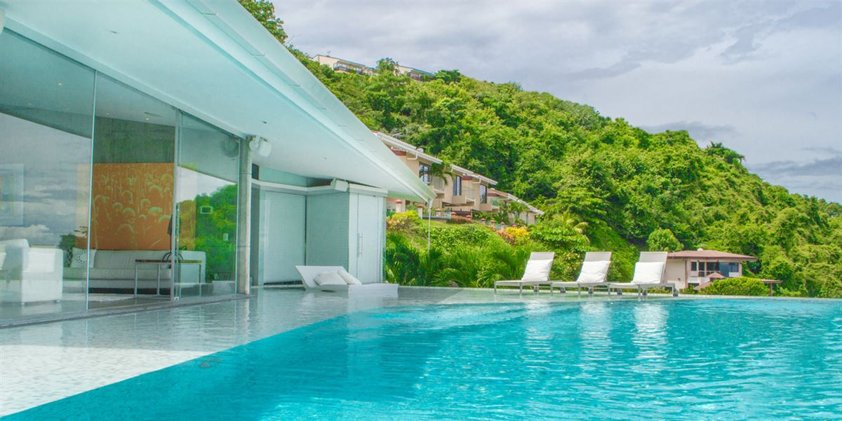 Luxury real estate contemporary home with stunning view