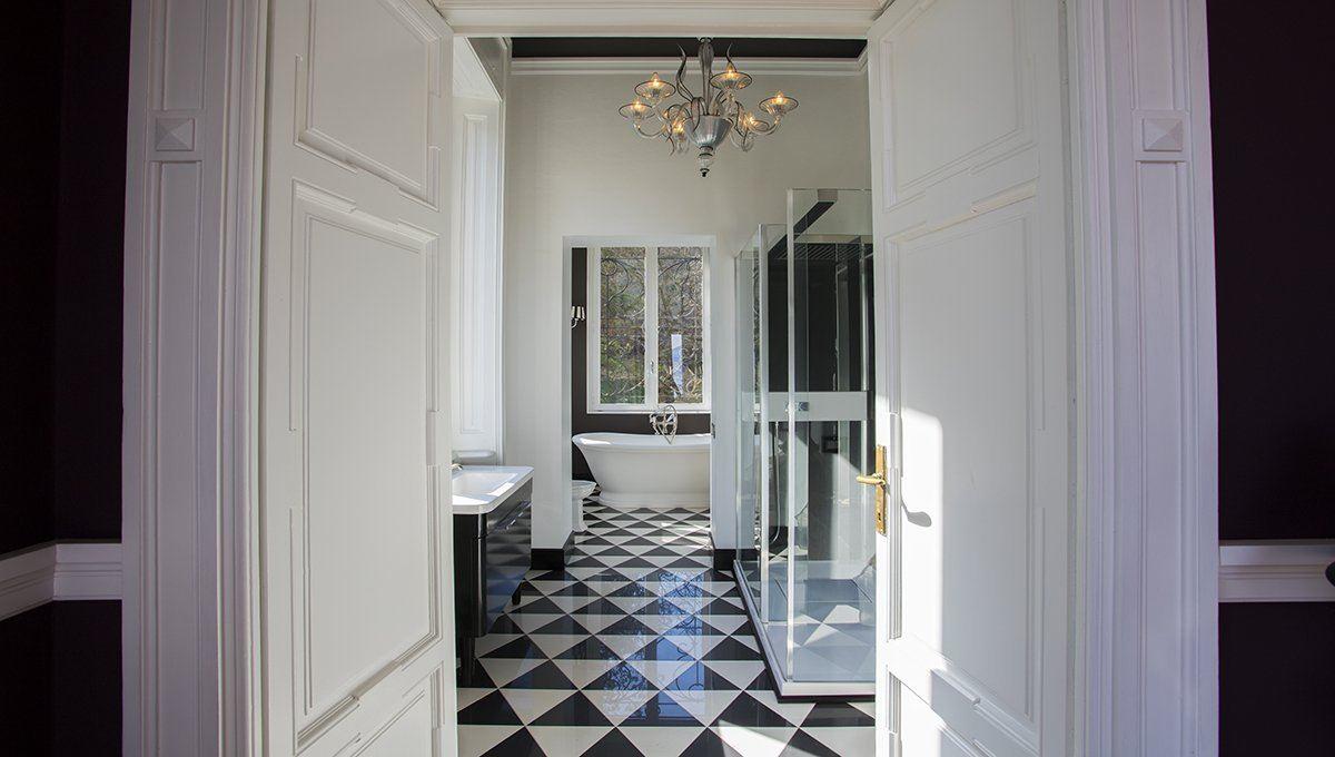 Mansions in historic italian villa in art nouveau style