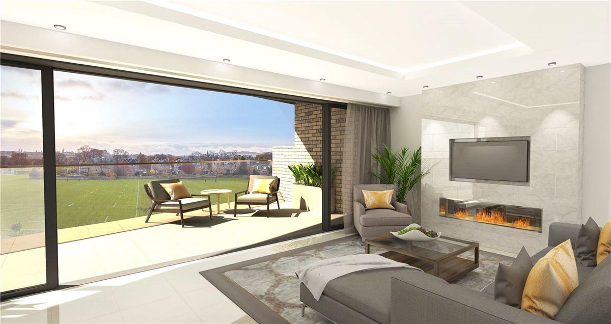 Luxury homes impressive apartment with terrace overlooking Edinburgh skyline