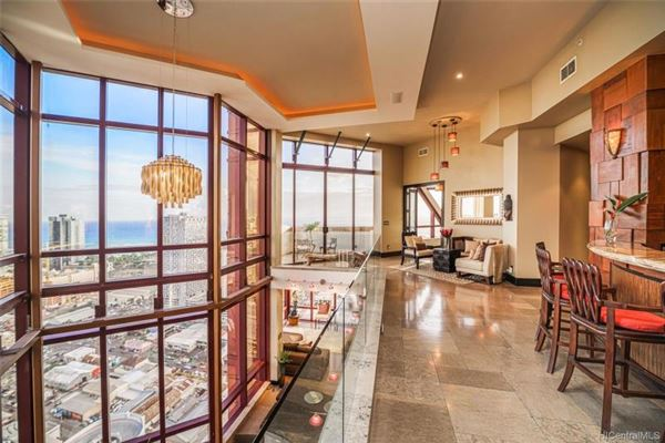 Luxury real estate open floor concept penthouse with amazing views