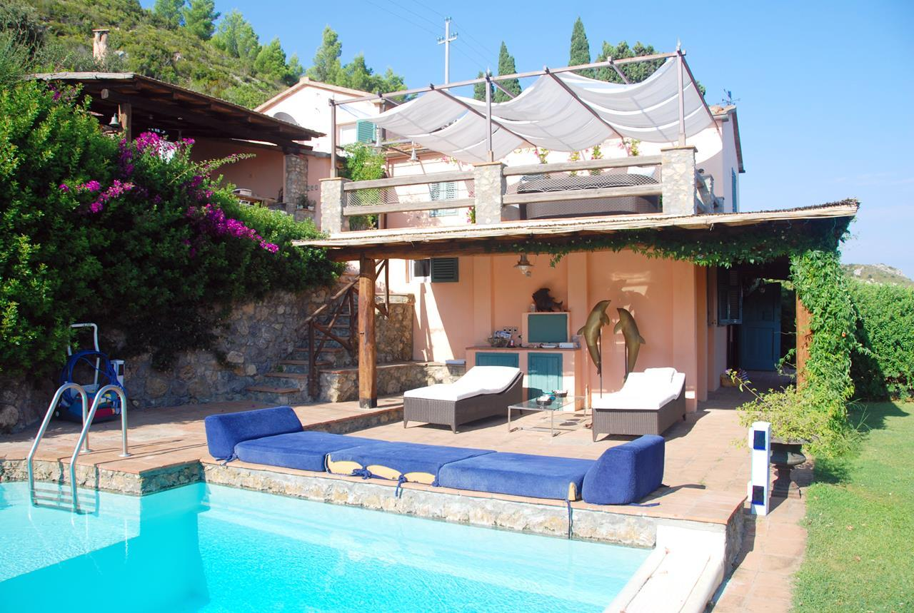Mansions in Villa with broad garden and pool overlooking the sea in Argentario