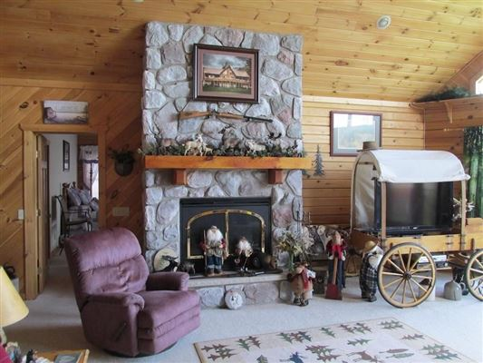 Luxury homes in stately and spcaious lakefront log cabin