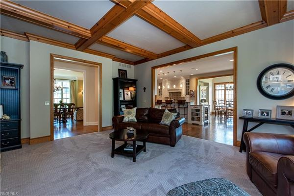 Luxury real estate beautiful two-story foyer offers an outdoor deck