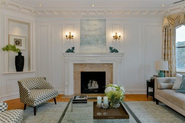 Luxury real estate dramatic and sophisticated floor-through home