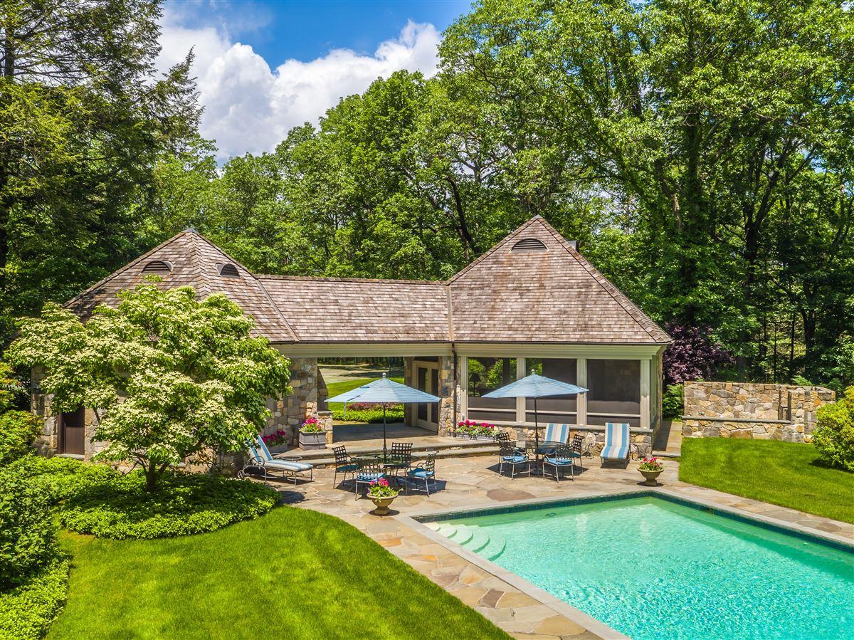 Luxury homes impressive English-style stone and shingle Country Estate