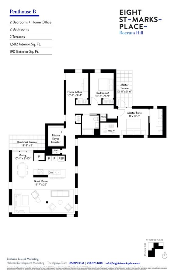 Mansions grand and gracious two bedroom plus office