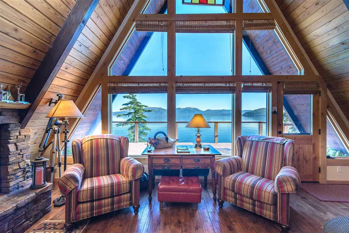 Luxury homes remodeled classic A-Frame Tahoe lake house