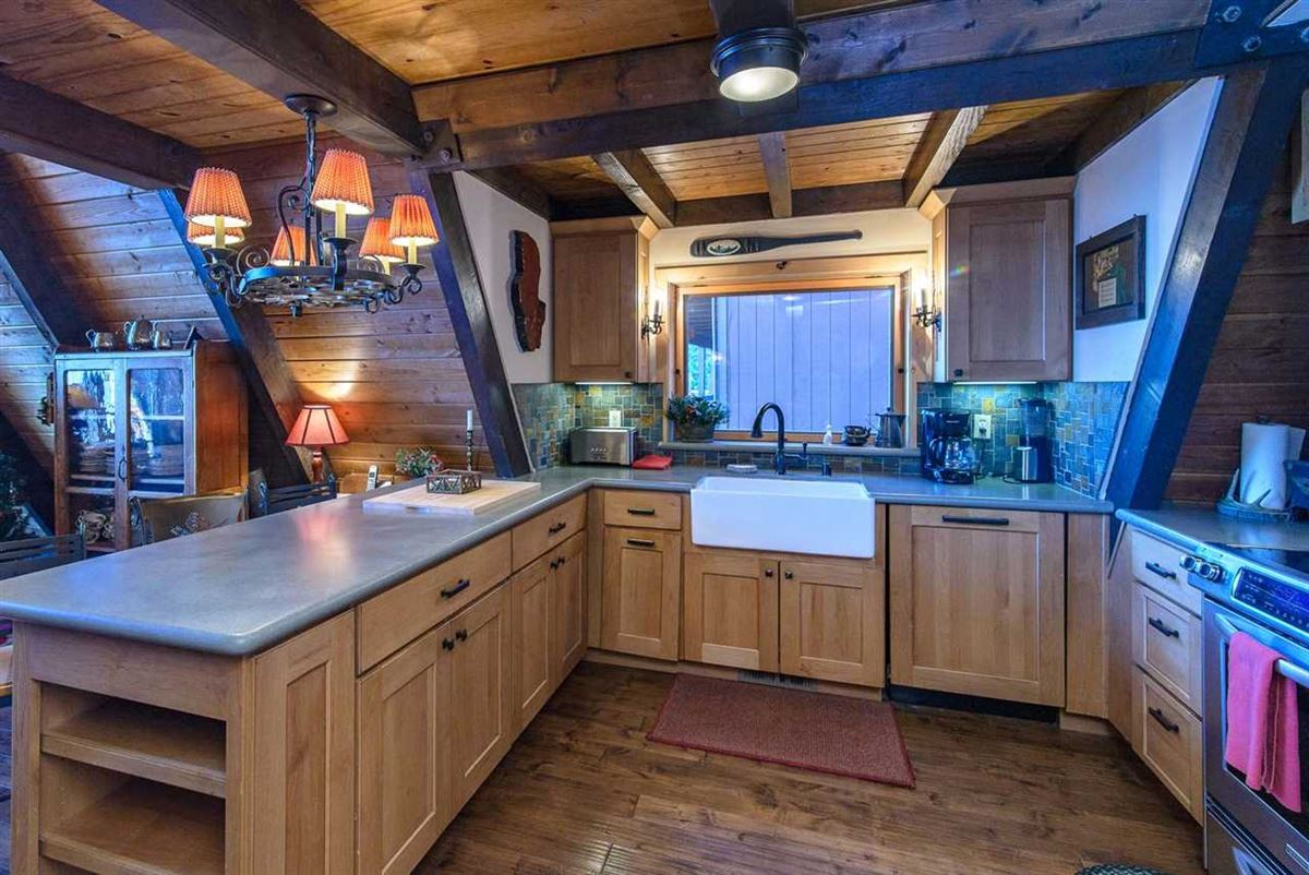 remodeled classic A-Frame Tahoe lake house luxury real estate