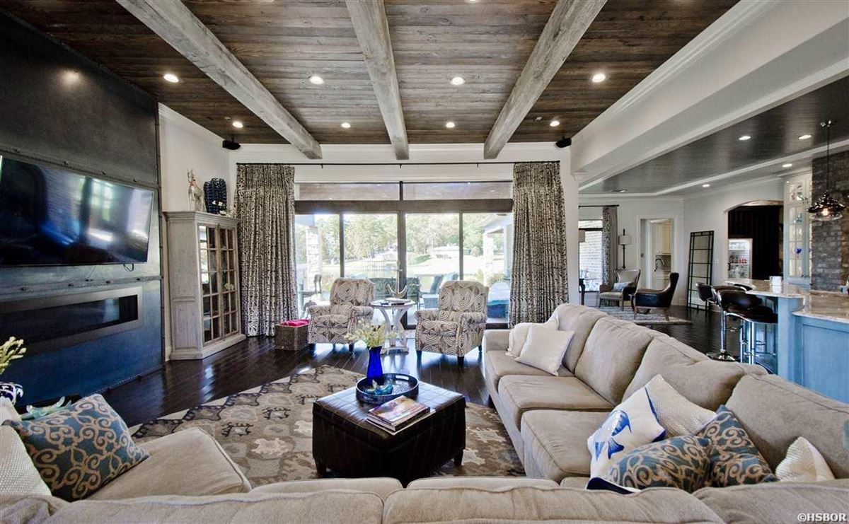 Luxury real estate lovely custom home with lake hamilton frontage