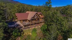 Luxury real estate massive log home with mountain views