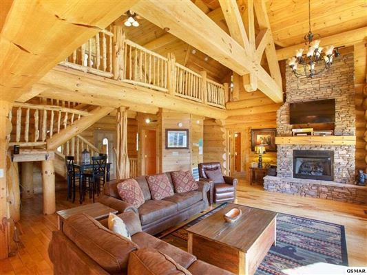 Luxury homes massive log home with mountain views