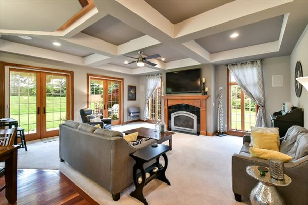 Luxury real estate Impressive home includes an outdoor fireplace