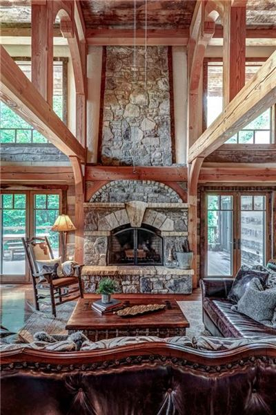 Luxury homes in Custom log and timber frame mountain home