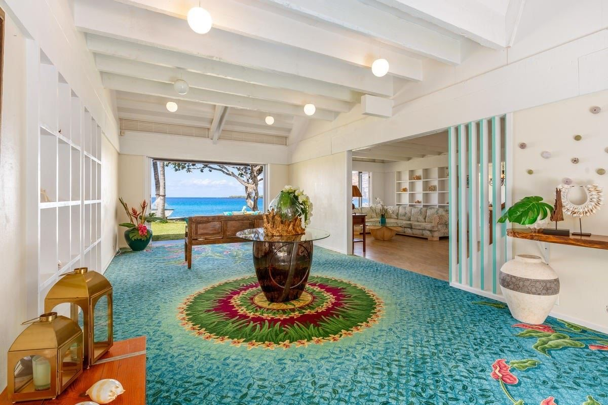 CHARMING HAWAII-STYLE BEACH HOUSE WITH 187 FEET OF OCEAN ... on hawaiian beach homes, hawaiian home plans, hawaiian style floor plans, hawaiian open floor plans, beachfront house plans, christmas house plans, hawaiian painting, hawaiian beach wedding, 24x48 garage under house plans, inverted floor plan house plans, hawaiian beach fishing, coastal style house plans, vintage bungalow house plans, hawaiian beach design,
