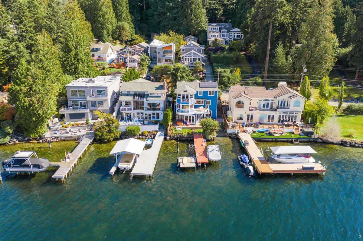 Storybook sunny west-facing waterfront mansions