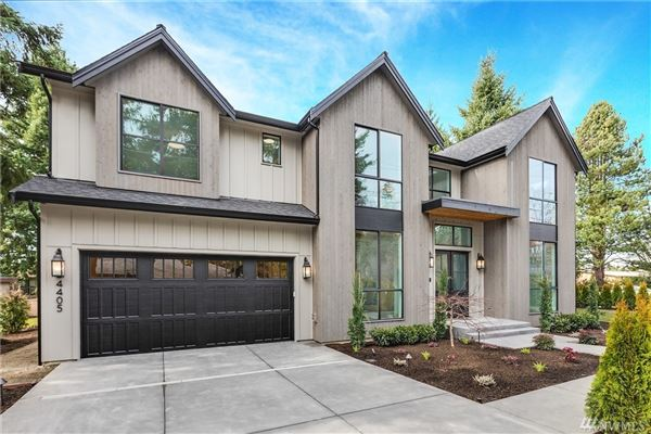 Newly completed modern farmhouse in the heart of Mercer Island luxury properties