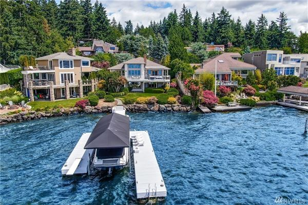 Luxury properties waterfront Near the end of quiet Champagne Point