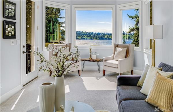 Luxury properties West Bellevue six bedroom home with sweeping views