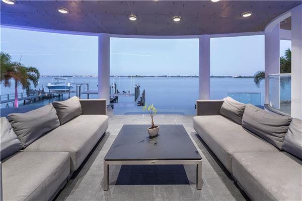 Luxury homes in modern work of art on the water