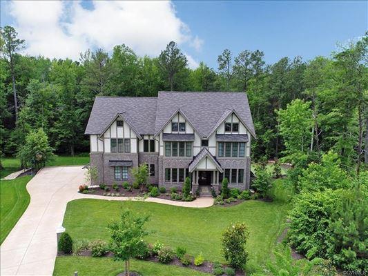 Luxury real estate luxurious Tudor style home on majestic cul-de-sac lot
